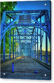 Walking Tall Walnut Street Pedestrian Bridge Art Chattanooga Tennessee Acrylic Print by Reid Callaway