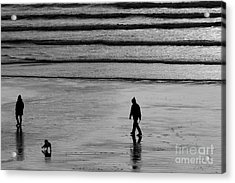 Acrylic Print featuring the photograph Walking The Dog At Marazion by Brian Roscorla