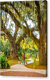 Walking The Dogs In New Orleans - Paint Acrylic Print by Steve Harrington