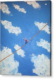 Acrylic Print featuring the painting Walking The Line by Thomas Blood