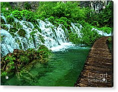 Walking Through Waterfalls - Plitvice Lakes National Park, Croatia Acrylic Print