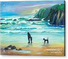 Walking With Grandpa - Painting Acrylic Print by Veronica Rickard