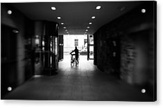 Walking With The Bike - Dublin, Ireland - Black And White Street Photography Acrylic Print by Giuseppe Milo