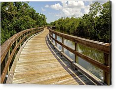 Acrylic Print featuring the photograph Walkway Over The Florida Salt Water Marsh  -  Preservewalkway135453 by Frank J Benz
