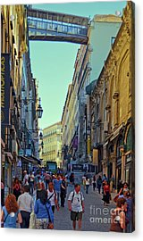 Acrylic Print featuring the photograph Walkway Over The Street - Lisbon by Mary Machare