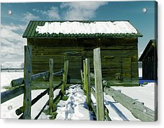 Acrylic Print featuring the photograph Walkway To An Old Barn by Jeff Swan