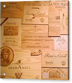 Wall Decorated With Used Wine Crates Acrylic Print