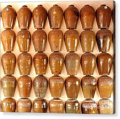 Acrylic Print featuring the photograph Wall Of Ceramic Jugs by Yali Shi