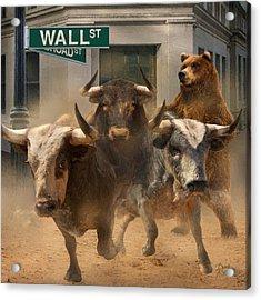Wall Street -- Bull And Bear Markets Acrylic Print