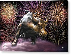 Wall Street Bull Fireworks Acrylic Print
