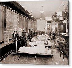 Wall Street Clerks Sleeping In Office Acrylic Print by Everett