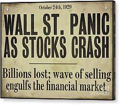 Wall Street Crash 1929 Newspaper Acrylic Print