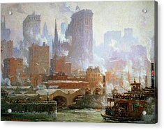 Wall Street Ferry Ship Acrylic Print by Colin Campbell Cooper