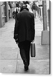 Acrylic Print featuring the photograph Wall Street Man by Dave Beckerman
