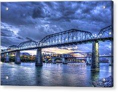 Walnut Street Pedestrian Bridge Sunset Chattanooga Tennessee Art Acrylic Print