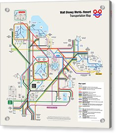 Walt Disney World Resort Transportation Map Acrylic Print by Arthur De Wolf