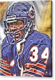 Walter Payton Chicago Bears Art Acrylic Print by Joe Hamilton