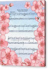 Waltz Of The Flowers Dancing Pink Acrylic Print by Irina Sztukowski