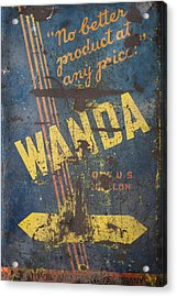 Acrylic Print featuring the photograph Wanda Motor Oil Vintage Sign by Christina Lihani