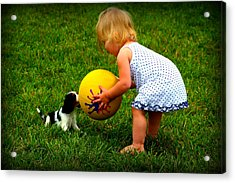 Wanna Play Ball Acrylic Print by Susie Weaver