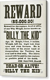 Wanted Poster For Billy The Kid Acrylic Print by Everett