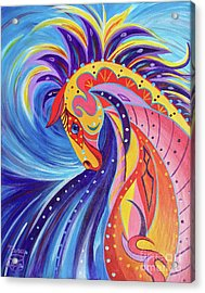 Acrylic Print featuring the painting War Horse by Nancy Cupp