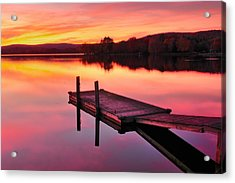 Waramaug Sunset Acrylic Print by Thomas Schoeller