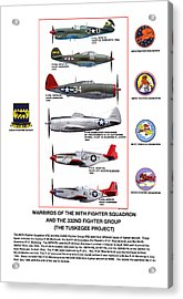 Warbirds Of The 99th Fighter Squadron And 332nd Fighter Group   Tuskegee Project Acrylic Print by Jerry Taliaferro