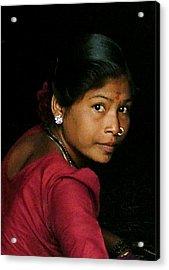 Warli Woman Acrylic Print by Pramod Bansode
