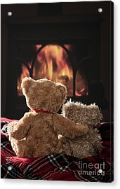 Warm And Cosy Teddies By The Fireside Acrylic Print by Amanda Elwell
