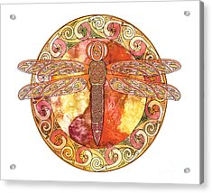 Acrylic Print featuring the mixed media Warm Celtic Dragonfly by Kristen Fox