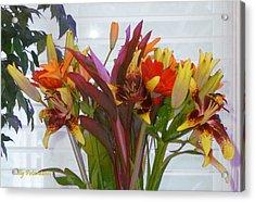 Warm Colored Flowers Acrylic Print