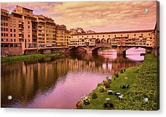 Sunset At Ponte Vecchio In Florence, Italy Acrylic Print