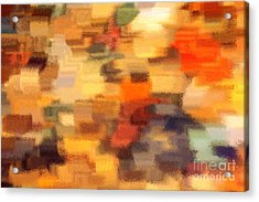 Warm Colors Under Glass - Abstract Art Acrylic Print by Carol Groenen