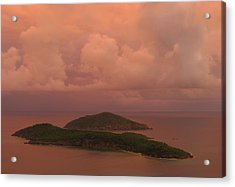 Acrylic Print featuring the photograph Warm Sunset Palette Of Inner And Outer Brass Islands From St. Thomas by Jetson Nguyen