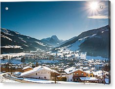 Acrylic Print featuring the photograph Warm Winter Day In Kirchberg Town Of Austria by John Wadleigh