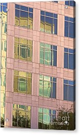 Acrylic Print featuring the photograph Warped Window Reflectionss by Linda Phelps