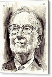 Warren Buffett Watercolor Acrylic Print