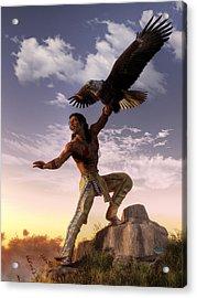Warrior And Eagle Acrylic Print
