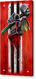 Warrior Glove On Red Acrylic Print by Michael T Figueroa