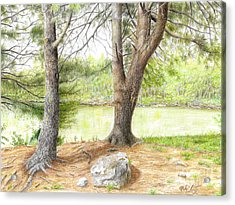 Acrylic Print featuring the drawing Warriors Path St Park by Mike Ivey