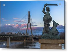 Warsaw Mermaid And Swiatokrzyski Bridge On Vistula Acrylic Print
