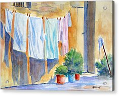 Wash Day In Marsaxlokk Acrylic Print by Marsha Elliott
