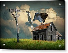 Wash On The Line By Abandoned House Acrylic Print