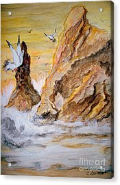 Acrylic Print featuring the painting Washed Rocks by Carol Grimes