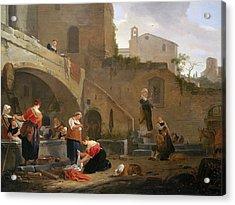 Washerwomen By A Roman Fountain Acrylic Print by Thomas Wyck