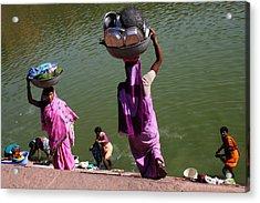 Washing Day Sari Clad Women Ghat Steps India Acrylic Print by Jane McDougall