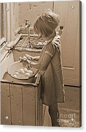 Washing Eggs Sepia Acrylic Print by Padre Art