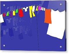 Acrylic Print featuring the digital art Washing Line by Barbara Moignard