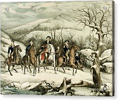 Washington And His Staff At Valley Forge Acrylic Print by American School